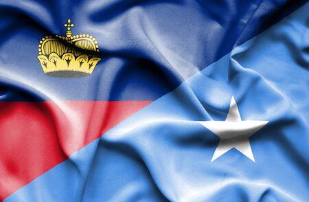 lichtenstein: Waving flag of Somalia and Lichtenstein