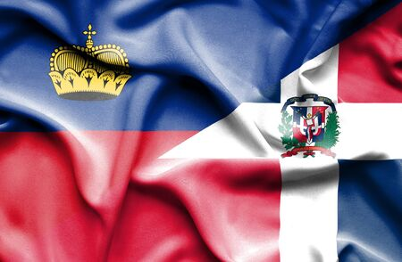 dominican republic: Waving flag of Dominican Republic and Lichtenstein