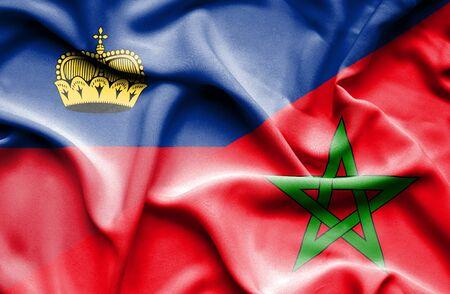 lichtenstein: Waving flag of Morocco and Lichtenstein Stock Photo