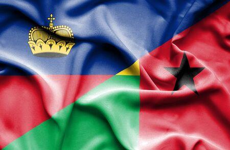 guinea bissau: Waving flag of Guinea Bissau and Lichtenstein Stock Photo