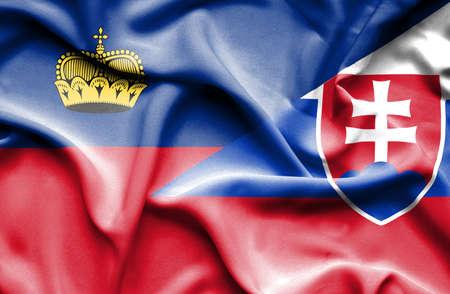 lichtenstein: Waving flag of Slovakia and Lichtenstein