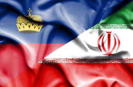 lichtenstein: Waving flag of Iran and Lichtenstein