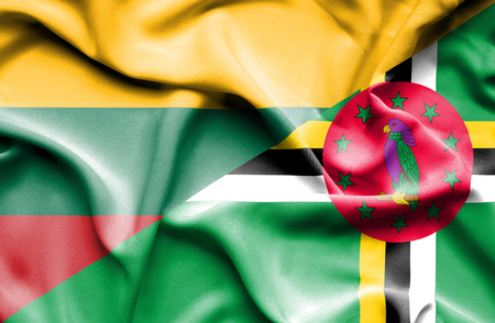 dominica: Waving flag of Dominica and Lithuania