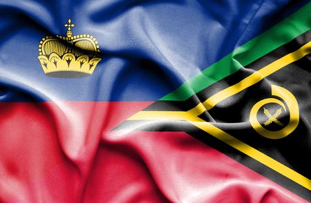 lichtenstein: Waving flag of Vanuatu and Lichtenstein