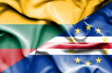cape verde: Waving flag of Cape Verde and Lithuania Stock Photo