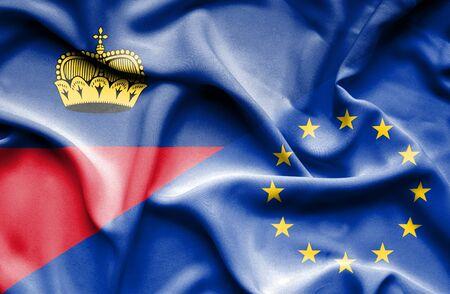 lichtenstein: Waving flag of European Union and Lichtenstein Stock Photo