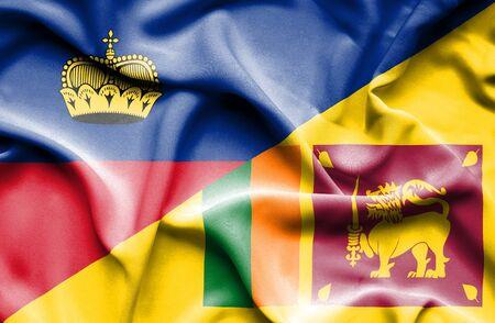 sri lanka: Waving flag of Sri Lanka and Lichtenstein