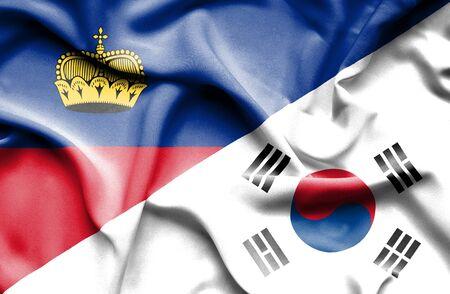 lichtenstein: Waving flag of South Korea and Lichtenstein Stock Photo