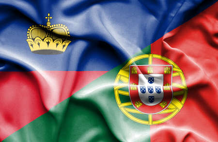 portugese: Waving flag of Portugal and Lichtenstein