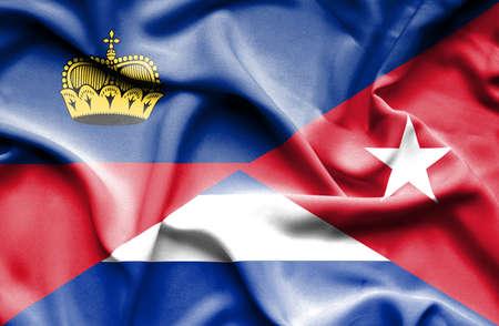 lichtenstein: Waving flag of Cuba and Lichtenstein