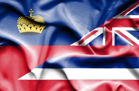 lichtenstein: Waving flag of Hawaii and Lichtenstein