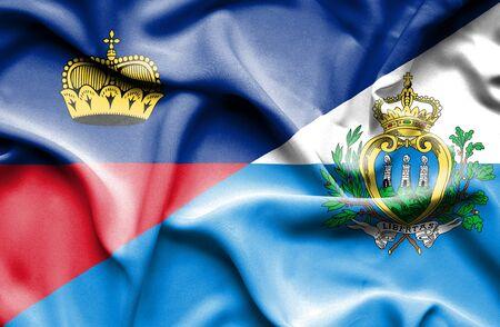 marino: Waving flag of San Marino and Lichtenstein Stock Photo