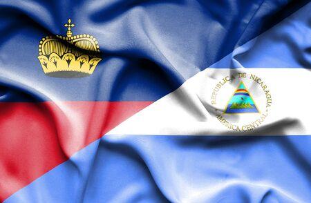 lichtenstein: Waving flag of Nicaragua and Lichtenstein Stock Photo