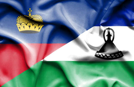 lesotho: Waving flag of Lesotho and Lichtenstein