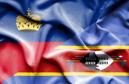 lichtenstein: Waving flag of Swazliand and Lichtenstein