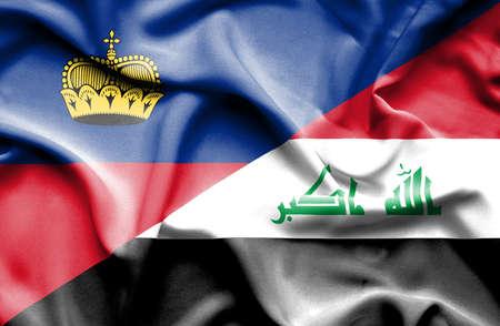 iraq war: Waving flag of Iraq and Lichtenstein