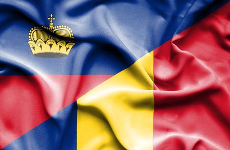 lichtenstein: Waving flag of Romania and Lichtenstein
