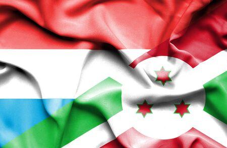 burundi: Waving flag of Burundi and Luxembourg