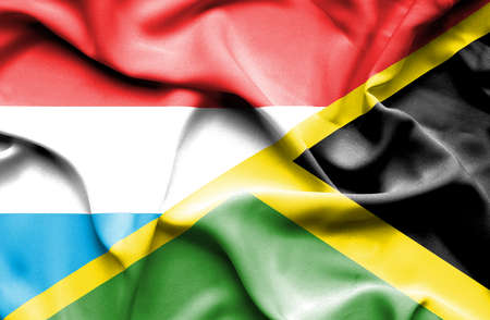 luxembourg: Waving flag of Jamaica and Luxembourg