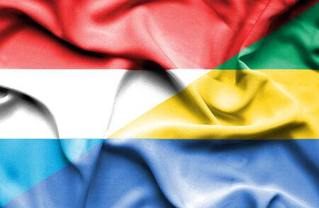 luxembourg: Waving flag of Gabon and Luxembourg
