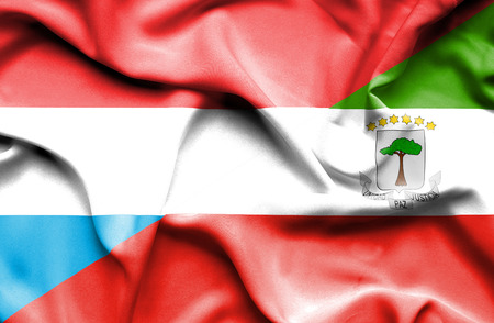 luxembourg: Waving flag of Equatorial Giuinea and Luxembourg