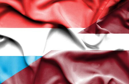 latvia: Waving flag of Latvia and Luxembourg
