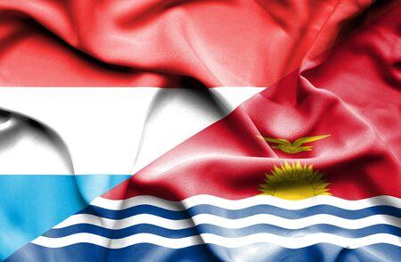 kiribati: Waving flag of Kiribati and Luxembourg