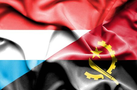 luxembourg: Waving flag of Angola and Luxembourg