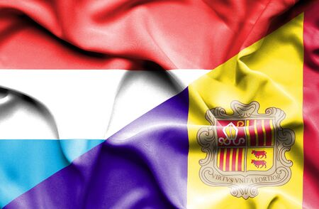 luxembourg: Waving flag of Andorra and Luxembourg
