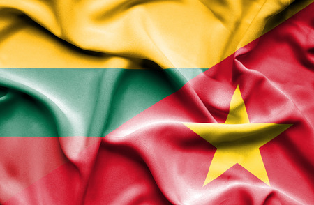 lithuania: Waving flag of Vietnam and Lithuania
