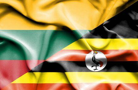 uganda: Waving flag of Uganda and Lithuania