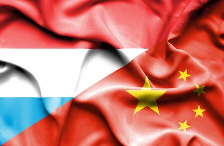 luxembourg: Waving flag of China and Luxembourg