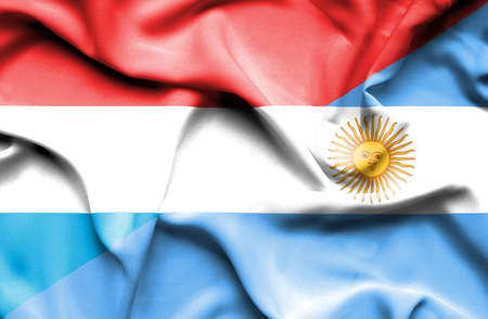luxembourg: Waving flag of Argentina and Luxembourg Stock Photo