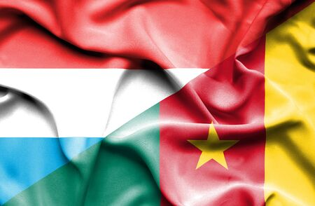 cameroon: Waving flag of Cameroon and Luxembourg