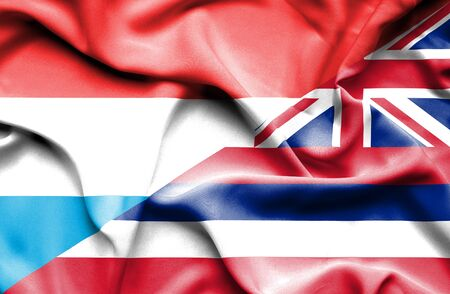 luxembourg: Waving flag of Hawaii and Luxembourg Stock Photo