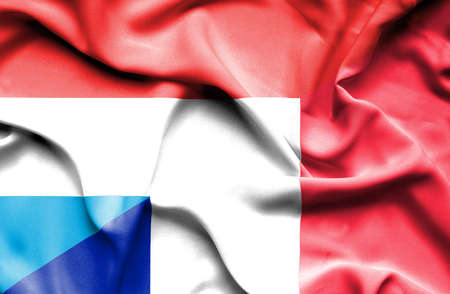 luxembourg: Waving flag of France and Luxembourg