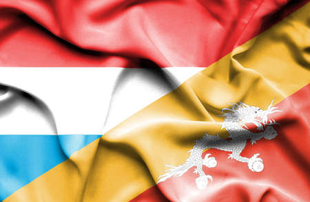 luxembourg: Waving flag of Bhutan and Luxembourg