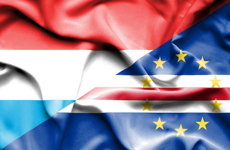 cape verde: Waving flag of Cape Verde and Luxembourg