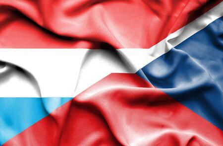 the czech republic: Waving flag of Czech Republic and Luxembourg