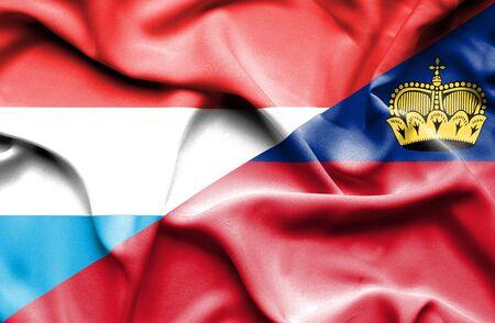 lichtenstein: Waving flag of Lichtenstein and Luxembourg