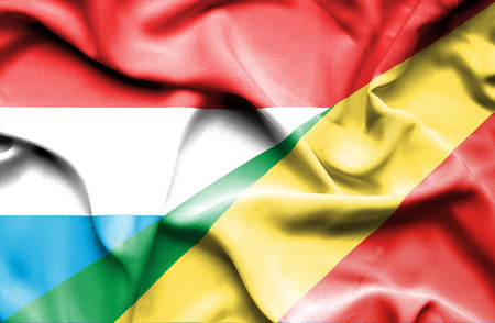 Congo: Waving flag of Congo Republic and Luxembourg Stock Photo