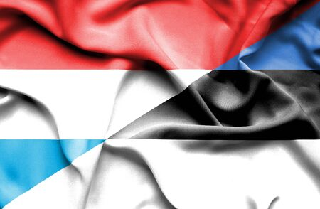 luxembourg: Waving flag of Estonia and Luxembourg