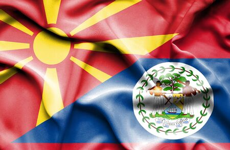 belize: Waving flag of Belize and Macedonia Stock Photo