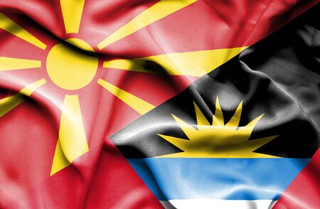 antigua: Waving flag of Antigua and Barbuda and Macedonia
