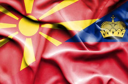 lichtenstein: Waving flag of Lichtenstein and Macedonia