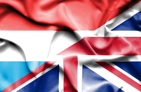 luxembourg: Waving flag of United Kingdon and Luxembourg