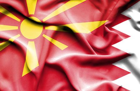 bahrain money: Waving flag of Bahrain and Macedonia