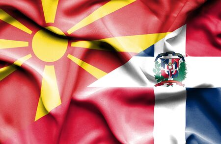 dominican republic: Waving flag of Dominican Republic and Macedonia Stock Photo