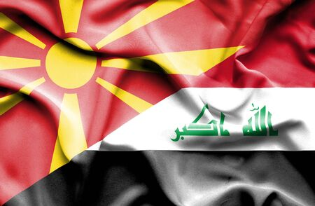 iraq conflict: Waving flag of Iraq and Macedonia Stock Photo
