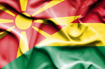 bolivia: Waving flag of Bolivia and Macedonia Stock Photo
